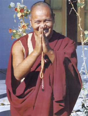 Lama Yeshe at Tushita Meditation Centre, Dharamsala, India, 1973. Photo: Brian Beresford.