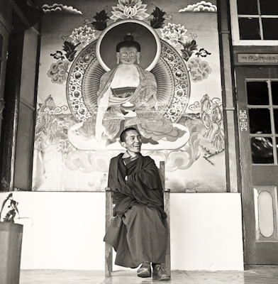 Lama Zopa Rinpoche at Tushita Retreat Centre, Dharamsala, India, 1973.  Photo by Brian Beresford.