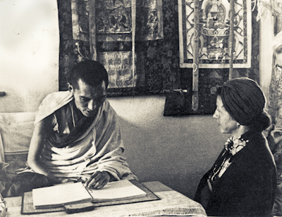 Lama Zopa Rinpoche and Bea Ribush during the Fourth Meditation Course, Kopan Monastery, Nepal, 1973.