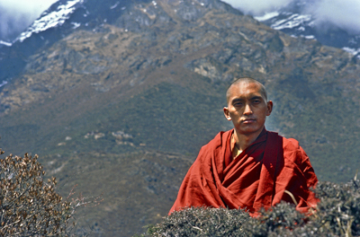 Lama Zopa Rinpoche at Lawudo Retreat Centre, Solu Khumbu, Nepal, 1978. Photo by Ueli Minder.