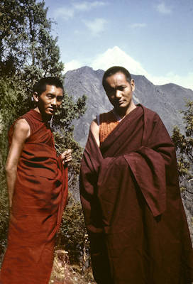 Lama Zopa Rinpoche and Lama Yeshe near Lawudo Retreat Center, Nepal, 1970. Photo by Terry Clifford.