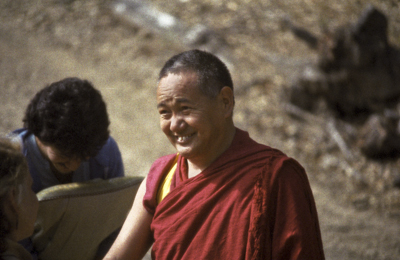 Lama Yeshe at Vajrapani Institute, California, 1983. Photo: Carol Royce-Wilder.