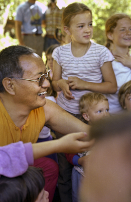 Lama Yeshe at a family gathering at Vajrapani Institute, CA, 1983. Photo: Carol Royce-Wilder.