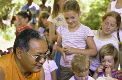 Lama Yeshe at a family gathering at Vajrapani Institute, California, 1983. Photo: Carol Royce-Wilder.