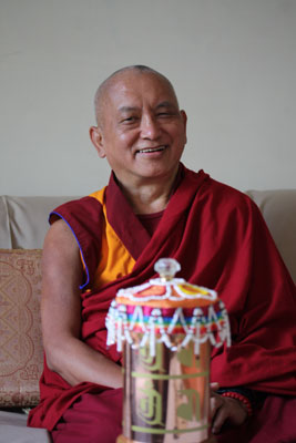 Lama Zopa Rinpoche in Delhi, India, January 2009. Photo: Ven. Roger Kunsang.