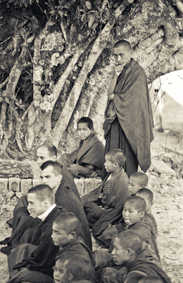 Lama Zopa Rinpoche with Mount Everest Centre boys at Kopan Monastery, Nepal, 1973. Photo: Ursula Bernis.