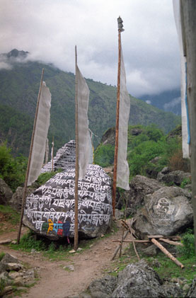 Mani stones on the way to Lawudo.
