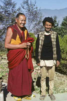 Lama Yeshe and his Nepalese friend Chowkidhar at Kopan Monastery, Kathmandu, Nepal, possibly 1978. Photo: Ursula Bernis.