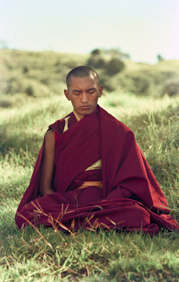 Lama Zopa Rinpoche in meditation on Saka Dawa at Chenrezig Institute, Australia, May 25, 1975. Photo: Wendy Finster.
