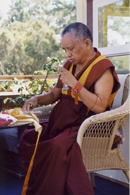 Rinpoche doing puja at his house in Aptos, California, USA.
