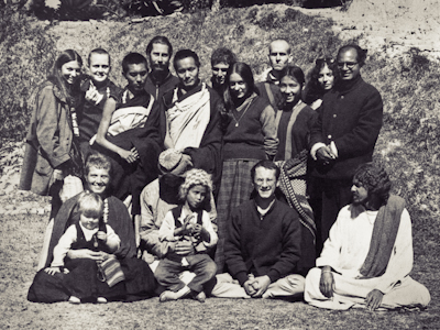 Lama Yeshe and Lama Zopa Rinpoche with students at Kopan, 1970. Zina and Rhea Rachevsky bottom left.