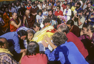 Cremation of Lama Yeshe at Vajrapani Institute, California in March, 1984. Photo: Ricardo de Aratanha.