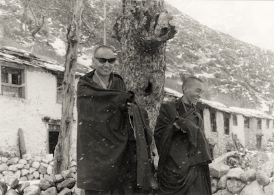 Lama Yeshe and Lama Zopa Rinpoche at Lawudo Retreat Centre, Solu Khumbu, Nepal, 1969. Photo: George Luneau.