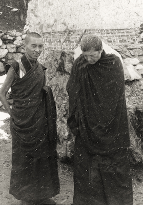 Lama Zopa Rinpoche and Zina Rachevsky at Lawudo Retreat Centre, Solu Khumbu, Nepal, 1969. Photo: George Luneau.