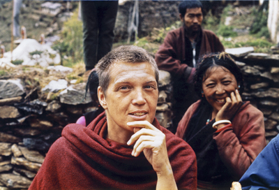 Zina Rachevsky at Lawudo Retreat Centre, Solu Khumbu, Nepal, 1969.