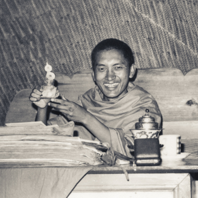 Lama Zopa Rinpoche in the cave of the Lawudo Lama, Solu Khumbu, Nepal, 1970. Photo: Robbie Solick.
