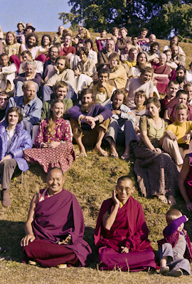 Lama Yeshe and Lama Zopa Rinpoche in a group photo from the 8th Meditation Course at Kopan Monastery, Nepal, 1975.