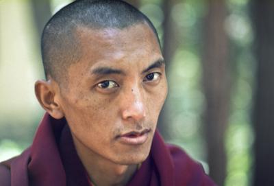 Lama Zopa Rinpoche, Lake Arrowhead, California, 1975. Photo by Carol Royce-Wilder.