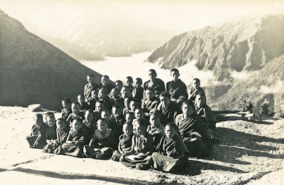 Mount Everest Centre students at Lawudo, Solu Khumbu, Nepal, 1974.