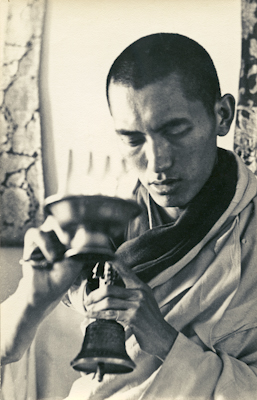 Lama Zopa Rinpoche doing puja during the Fourth Meditation Course, Kopan Monastery, Nepal, 1973. Photo: Christine Lopez.