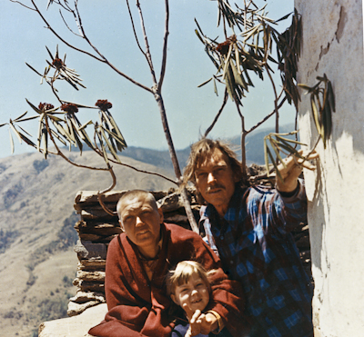Zina Rachevsky, her daughter Rhea, and Bill Barker (Zina's second husband) at Thubten Chöling Monastery in Solu Khumbu, Nepal, 1973.