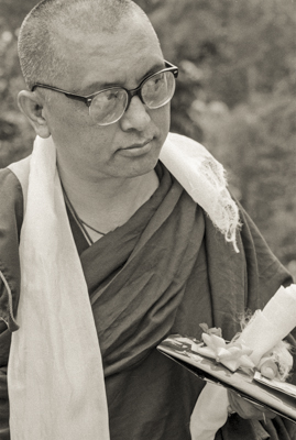 Lama Zopa Rinpoche at Chenrezig Institute, Australia, 1991. Photo by Thubten Yeshe (Augusta Alexander or TY).