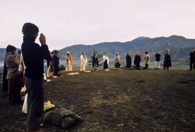 Dharma students meditating on Kopan Hill, Nepal, 1971.