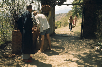 Students haul bricks at Kopan Monastery, Nepal, 1971. Zengo is on the left.