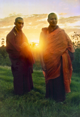 Lama Zopa Rinpoche and Lama Yeshe at dawn on Saka Dawa, Chenrezig Institute, Australia, 1975. Photo by Nick Ribush.
