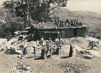 The construction of Kopan Monastery, first floor, rear view, Nepal, 1972.