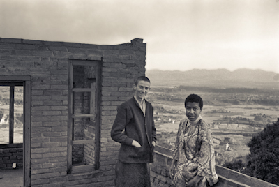 Anila Ann and Max Mathews on the roof of Kopan as the second floor is in progress, 1972.