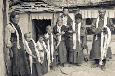 Lama Zopa Rinpoche with the first five novice monks from Mt Everest Centre for Buddhist Studies, Nepal, 1972.