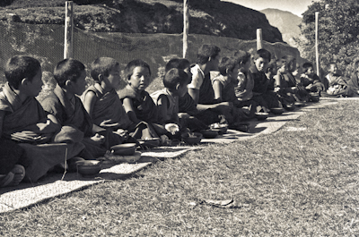 Mount Everest Centre students having lunch at Kopan Monastery, Nepal, 1972.