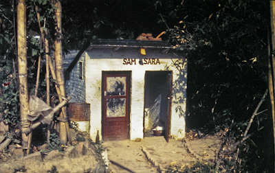 The outhouse labeled Sam-Sara at Kopan Monastery, Nepal, 1973. Photo: Lynda Millspaugh.