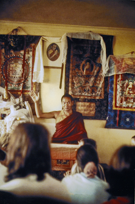Lama Yeshe teaching at the Fourth Meditation Course, Kopan Monastery, Nepal, 1973. Photo by Lynda Millspaugh.