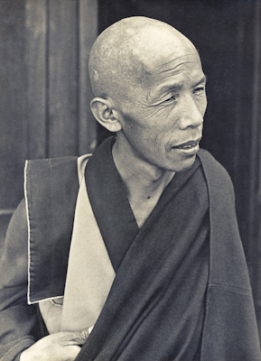 Lama Lhundrup Rigsel at Kopan Monastery, Nepal, possibly in 1973.