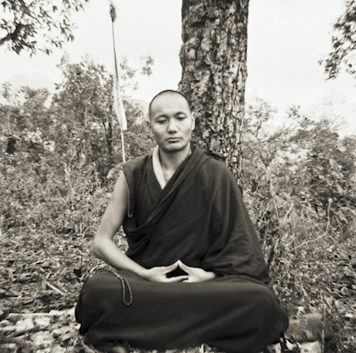 Lama Yeshe meditating in Mussoorie,  India, 1973. Photo: Max Matthews.