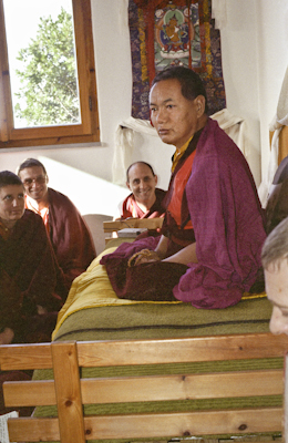 Lama Yeshe addressing Western monks and nuns at Istituto Lama Tzong Khapa, Italy, 1983.