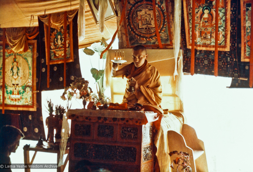 Lama Zopa Rinpoche teaching during the Fifth Meditation Course, Kopan Monastery, Nepal, 1973.