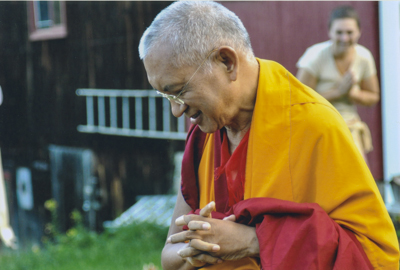Lama Zopa Rinpoche at Milarepa Center, Vermont, for a retreat, 2010. Photo: Jim Hagan.