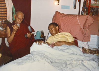 A photo of Lama Yeshe and Zong Rinpoche shortly before Lama's death, California, 1984. Photo by Lama Zopa Rinpoche.