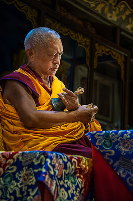 Lama Zopa Rinpoche doing Lama Chöpa puja at Istituto Lama Tzong Khapa, Pomaia, Italy, June 2014. Photo: Piero Sirianni.
