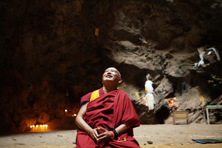 Lama Zopa Rinpoche in Maratika Cave, Nepal, 2016. Photo: Ven Sherab.