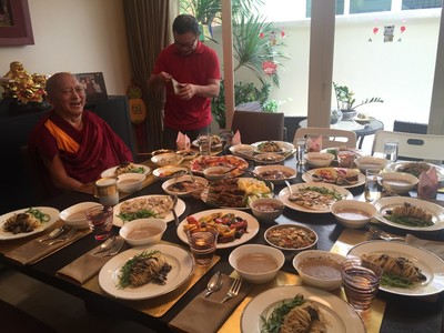 Lama Zopa Rinpoche in Singapore, February 2016. Photo: Roger Kunsang.