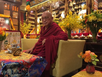Lama Zopa Rinpoche on the day of his arrival at Cham Tse Ling gompa, Hong Kong, April 2016. Photo: Roger Kunsang.