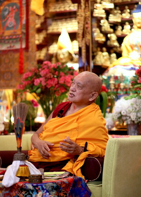 Lama Zopa Rinpoche at Mahayana Buddhist Association (Cham Tse Ling), Hong Kong, April 2016.  Photo: Lobsang Sherab.
