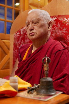 Rinpoche during a puja at Buddha Amitabha Pure Land, USA, September 2016. Photo: Roger Kunsang.