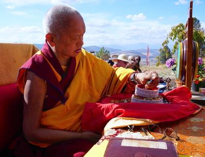 Rinpoche offering a mandala at Buddha Amitabha Pure Land, USA, October 2016. Photo: Lobsang Sherab.