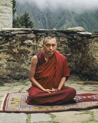 Lama Zopa Rinpoche at Lawudo Retreat Center, Nepal, 1990. Photo by Merry Colony.