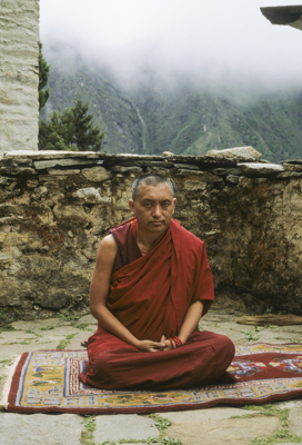 Lama Zopa Rinpoche at Lawudo 1990. Photo: Merry Colony.
